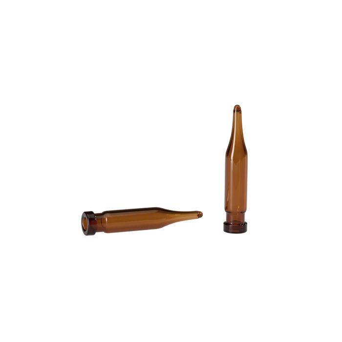 WICOM 8mm Rollrandvial, brown glass, 0.7ml, konisch zulaufend, 7 x 40mm, (1. hyd...