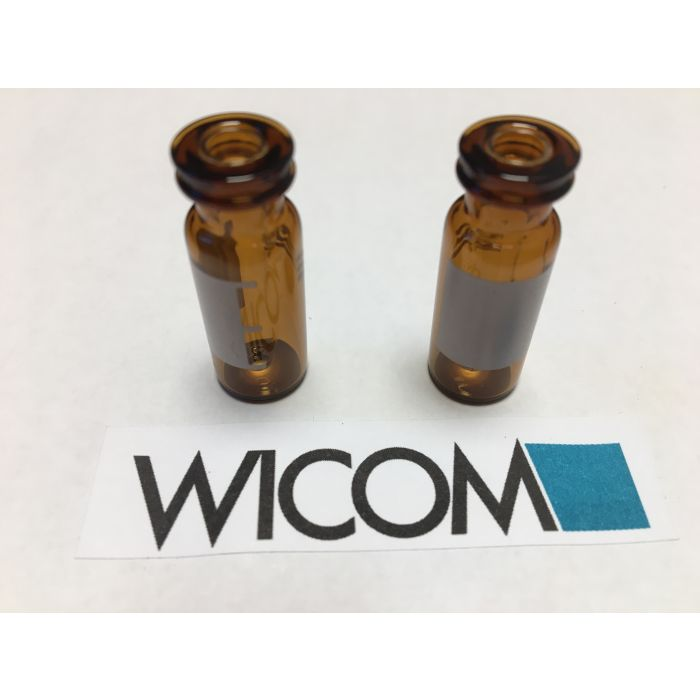 WICOM 2ml vial brown glass, with write-on patch and eingeschmolzenem Insert 300µ...