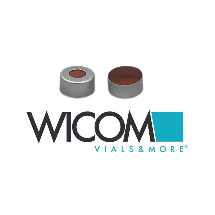 11mm Aluminium crimp Caps with septum of buthyl/PTFE (orange). Ausdruecklich can...