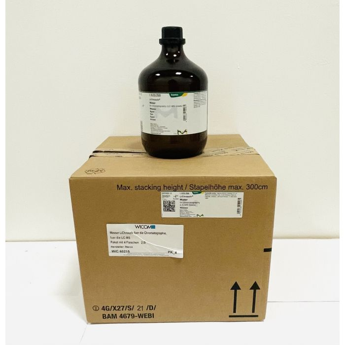 Wasser LiChrosolv for die Chromatographie, for die LC-MS Box with 4 bottels á 2,...