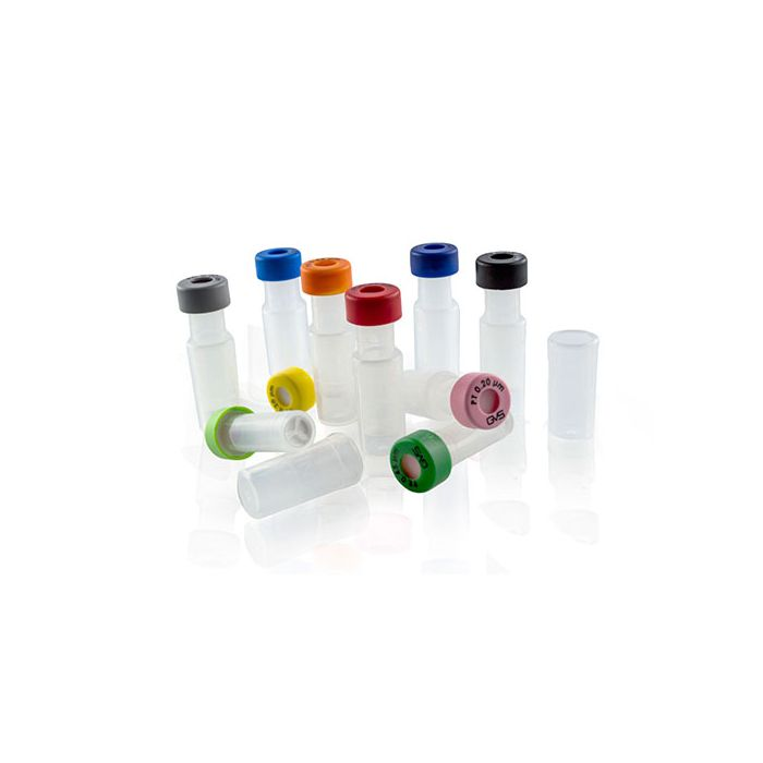 WICOM PTFE Filter vials 0,45µm Red snap cap silicone/PTFE with cross slitted